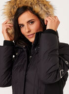 Hooded Quilted Down Coat , Black, hi-res