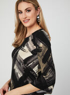 Abstract Print Angel Sleeve Top, Black, hi-res