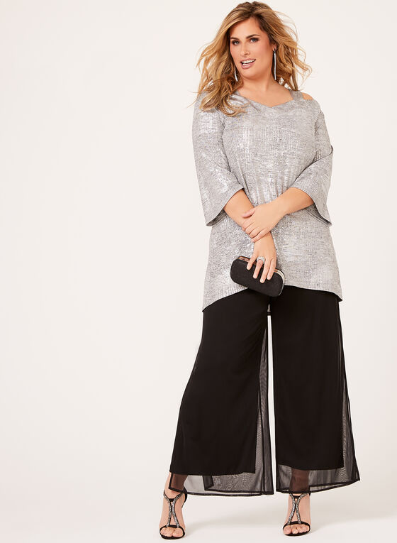 Metallic Cold Shoulder Knit Tunic, Grey, hi-res
