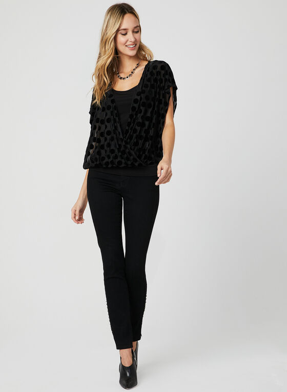 Polka Dot Print Blouson Top, Black, hi-res