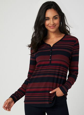 Stripe Print Henley Top, Red,  long sleeves, ribbed, stretchy, fall 2019, winter 2019