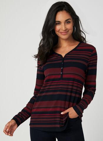 T-shirt rayé à boutons, Rouge, hi-res,  t-shirt, tricot côtelé, rayures, manches longues, automne hiver 2019