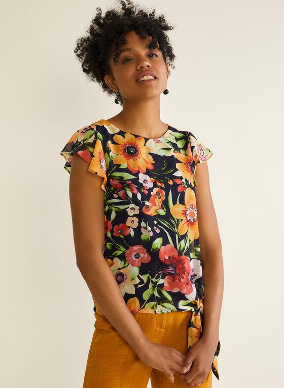 Floral Print Ruffle Sleeve Blouse, Blue