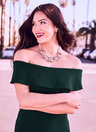 Off-the-Shoulder Gown, Green, hi-res