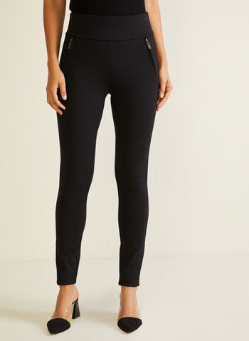 Zipper Detail Pull On Leggings, Black,  leggings, pull-on, slim leg, stretchy, fall winter 2020
