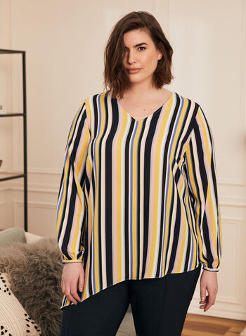 Striped Balloon Sleeve Blouse, Multi,  blouse, tonic, top, striped, v-neck, balloon sleeves, crepe, asymmetric, spring summer 2020