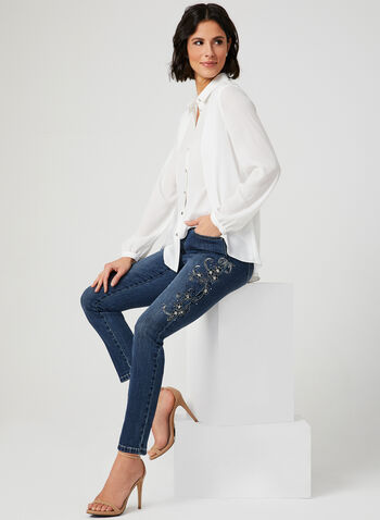 Embroidered Modern Fit Jeans, Blue, hi-res,