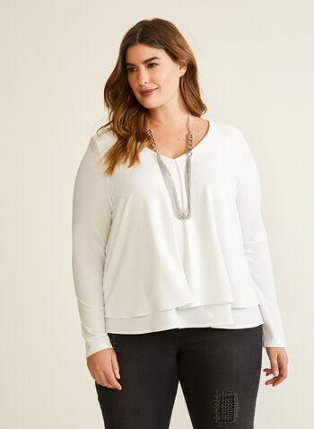 Joseph Ribkoff - Layered Drape Effect Top, Off White,  fall winter 2020, top, draped, layered, long sleeves, v-neck, Joseph Ribkoff, made in Canada