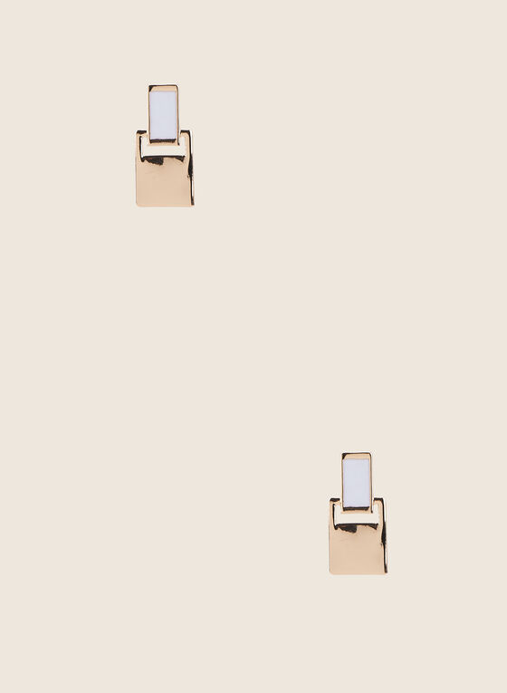 Metallic Door-Knocker Earrings , White