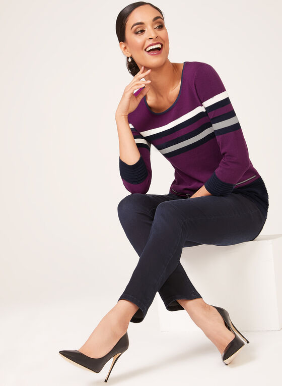 ¾ Sleeve Knit Top, Purple, hi-res