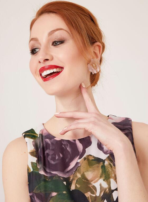 Robe sans manches à motif floral , Rose, hi-res