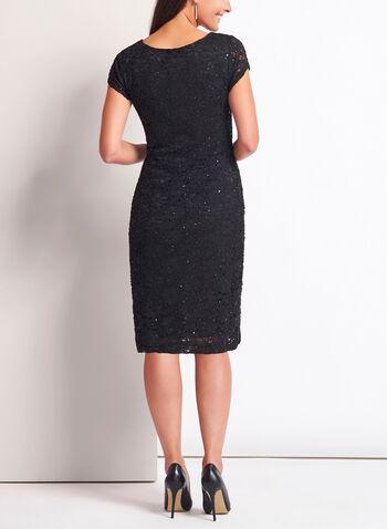 Sequin Lace Midi Dress, Black, hi-res