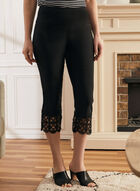 Crochet Detail Capri Pants, Black