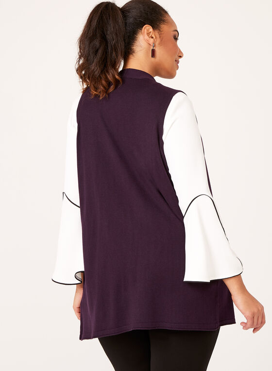 Sleeveless Open Front Cardigan, Purple, hi-res