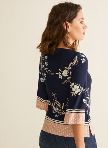 Contrast Floral Print Top, Blue,  Spring summer 2020, bell sleeves, 3/4 sleeves, jersey fabric, floral print, v-neck