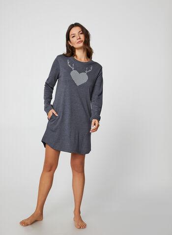 Midnight Maddie - Heart Print & Rhinestone Nightgown, Grey,  nightgown, pyjama, heart, rhinestone, cotton, fall winter 2019