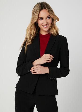 Veste tailleur à un bouton, Noir, hi-res,  veston, structuré, manches longues, col cranté, automne hiver 2019