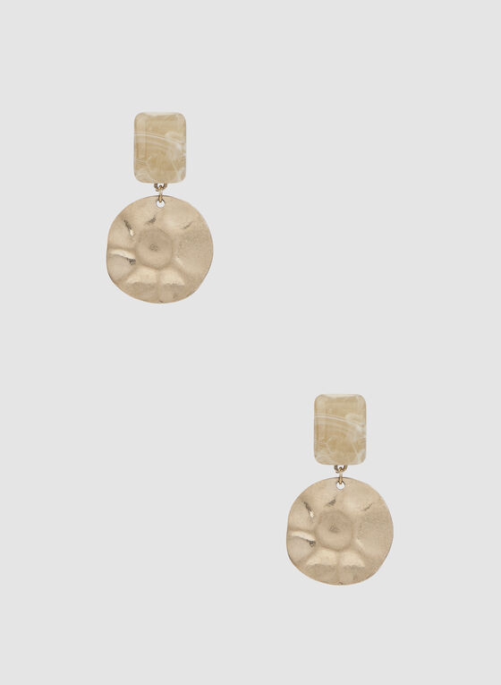 Two-Tier Hammered Earrings, Gold, hi-res
