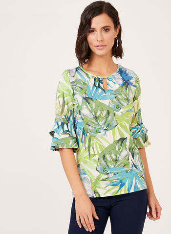 Abstract Leaf Print Blouse, Green, hi-res