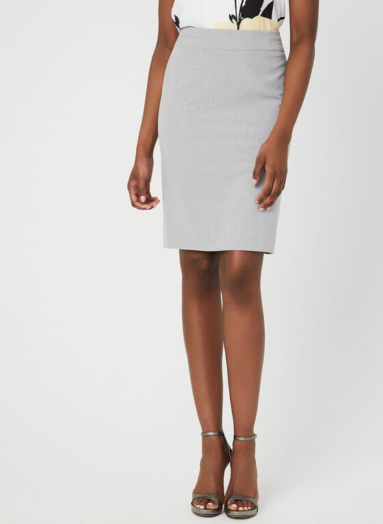 Bi-Stretch Pencil Skirt, Grey