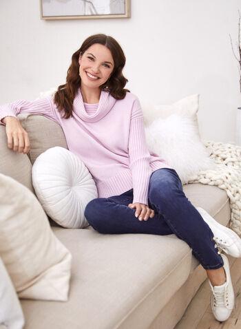 Pull en tricot à col bénitier, Rose,  automne hiver 2020, pull, chandail, manches longues, manches dolman, épaules tombantes, tricot, côtelé, col bénitier