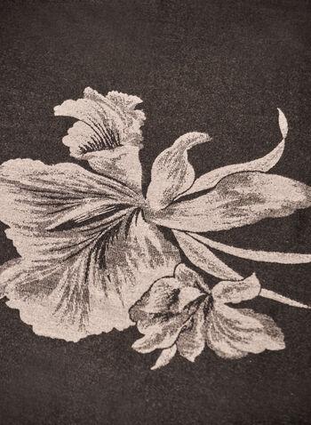 Reversible Floral Print Scarf, Black,  fall winter 2021, scarf, scarves, winter scarf, accessory, accessories, lightweight, wool, blend, rectangular, floral print, pattern, design, reversible, frayed, hem