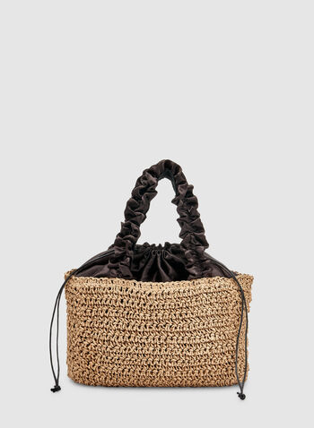 Ruffle Handle Straw Bag, Off White, hi-res