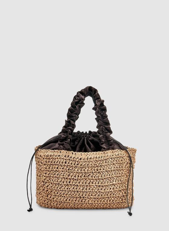 Ruffle Handle Straw Bag, Off White, hi-res