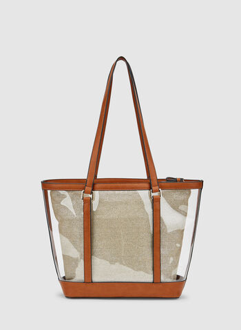 Clear Tote Bag, Brown, hi-res,  faux leather, transparent, spring 2019