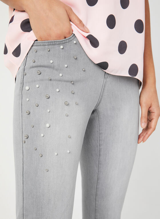 Signature Fit Embellished Jeans, Grey