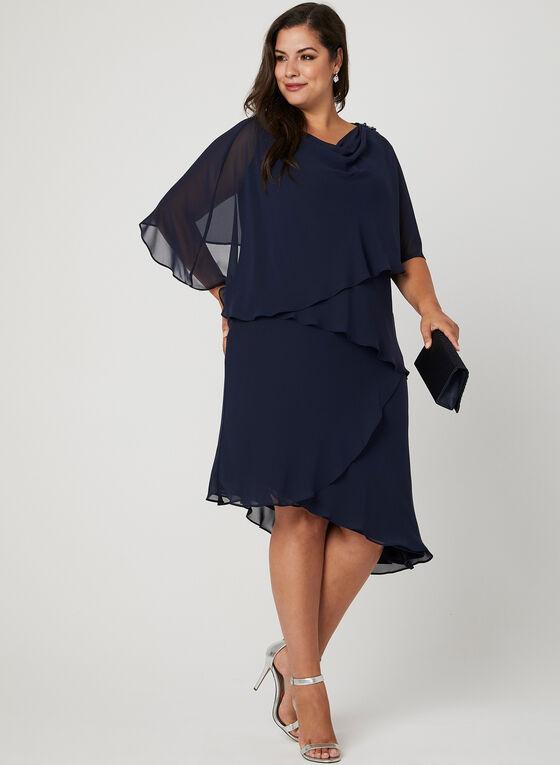 Robe asymétrique en mousseline étagée, Bleu, hi-res
