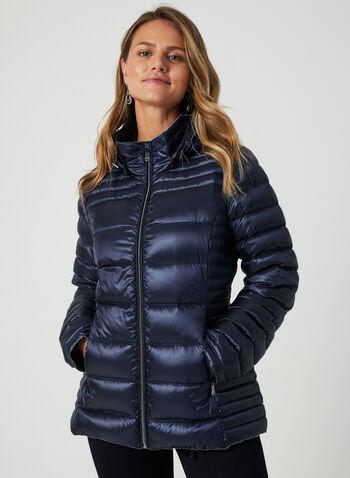 Manteau en duvet compressible , Bleu, hi-res,  automne hiver 2019, manteau, matelassé, compressible, capuchon, amovible, col montant , manches longues, poches, zip, duvet, plumes, cordons
