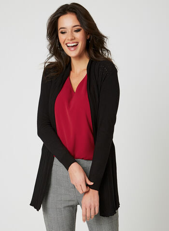 Ness - Long Pointelle Cardigan, Black, hi-res