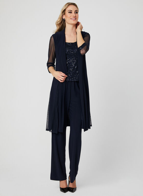 Three Piece Sequin Lace Pantsuit, Blue, hi-res