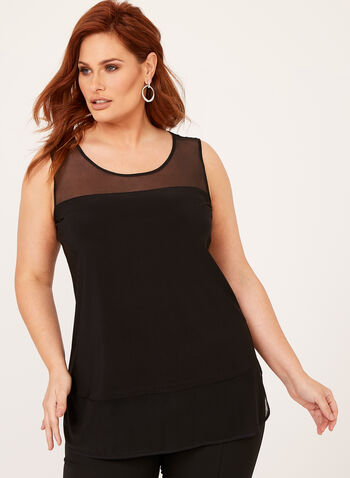 Sleeveless Mesh Hem Top, Black, hi-res