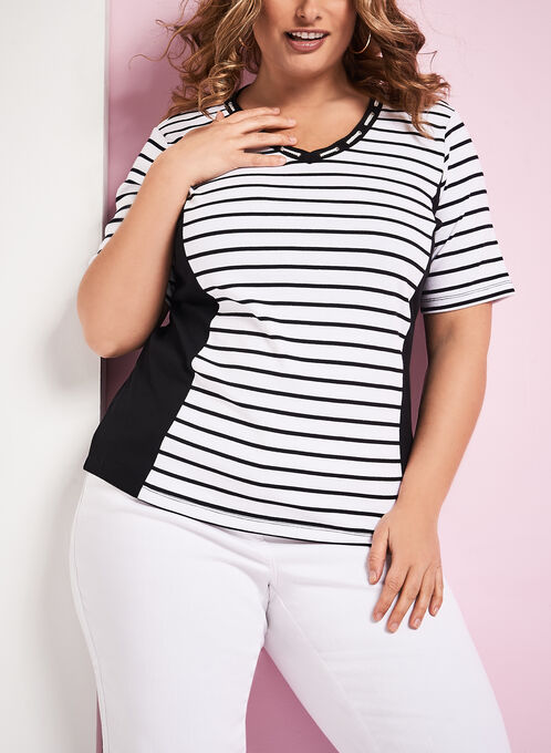 T-shirt rayé col effet lacé avec œillets, Blanc, hi-res