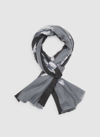 Two-Toned Floral Print Scarf, Grey,  scarf, floral, flowers, butterfly, viscose, two-toned, fringe, fall 2019, winter 2019