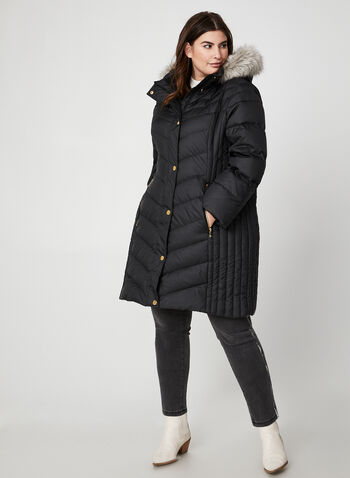 Anne Klein - Faux Fur Down Coat, Black,  coat, winter coat, long coat, down coat, down, faux fur, faux fur coat, fall 2019, winter 2019