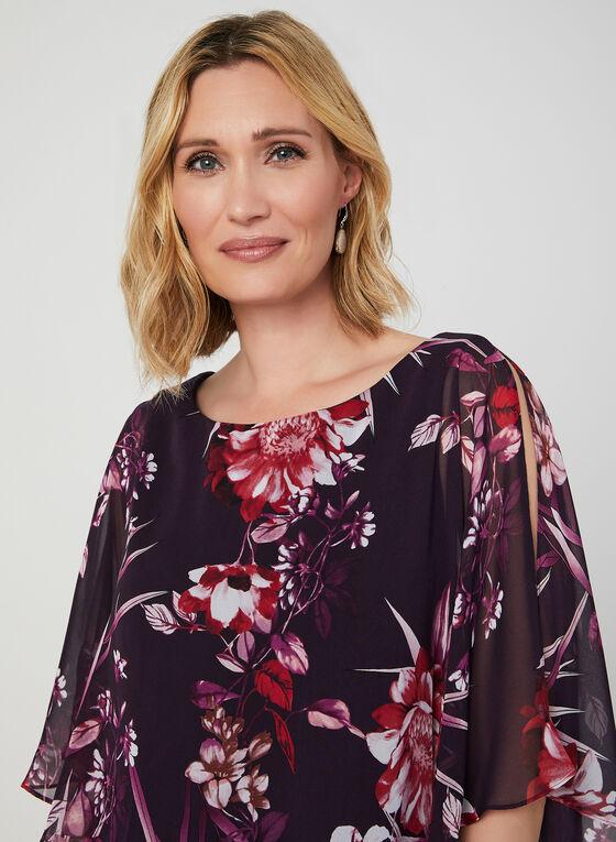 Robe à poncho fleuri asymétrique, Violet