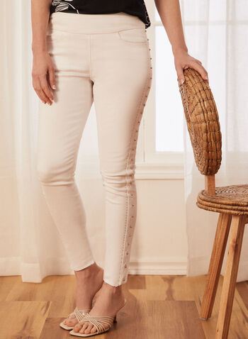 Stud Detail Slim Leg Jeans, White,  spring summer 2021, pants, capris, studded, stud detail, slim leg, pull on, pockets, stretchy, denim, stretch denim, ankle length