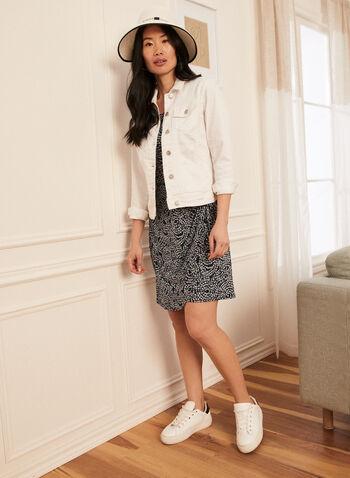 Veste en denim boutonnée , Blanc,  printemps été 2021, veste, denim, boutons, poches, manches longueus, col chemisier