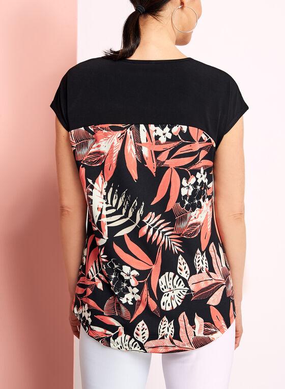 Drop Shoulder Floral Print Top, Black, hi-res