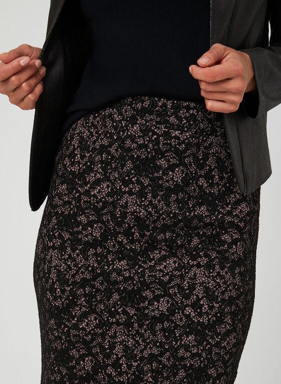 Jupe pull-on motif dentelle, Noir, hi-res