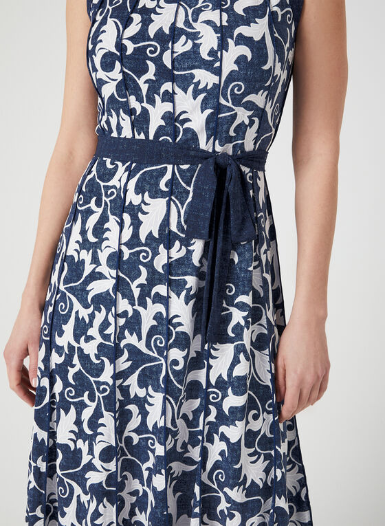 Scroll Print Jersey Dress, Blue