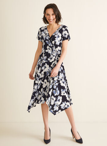 Floral Print Faux Wrap Dress, Blue,  day dress, floral, short sleeves, crossover, twist, wrap, handkerchief, jersey, spring summer 2020
