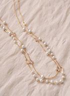 Collier à rang double avec perles et pierres, Blanc cassé