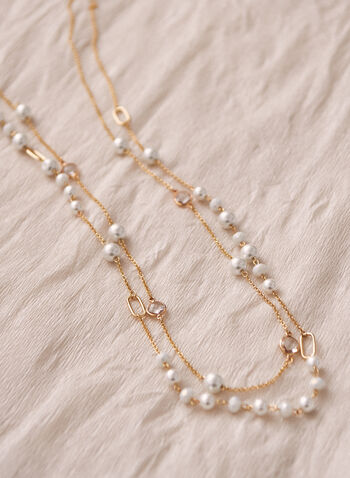 Pearl & Chain Necklace, Off White,  necklace, pearl, chain, faceted stone, fine chain, spring summer 2021