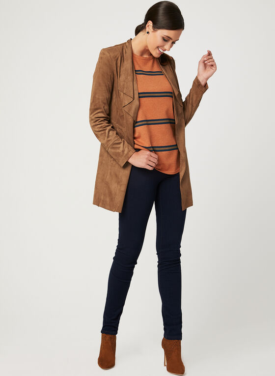 Open Front Faux Suede Jacket, Brown, hi-res