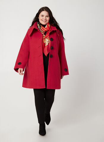 Wool-Like Envelope Coat, Red,  coat, envelop collar, faux wool, long sleeves