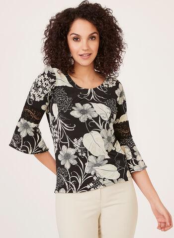 Bell Sleeve Floral Print Blouse, Black, hi-res